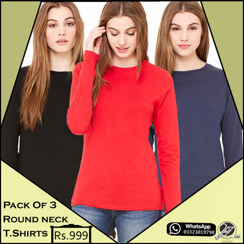 Pack of 3 Round Neck Full Sleeves T-Shirts for Females