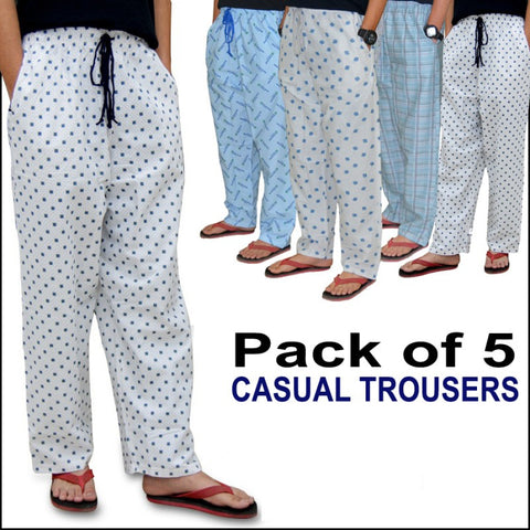 Pack of 5 casual printed trouers