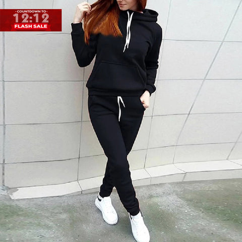 12-12 SALE:  PLAIN BLACK KANGROO HOODED TRACK SUIT
