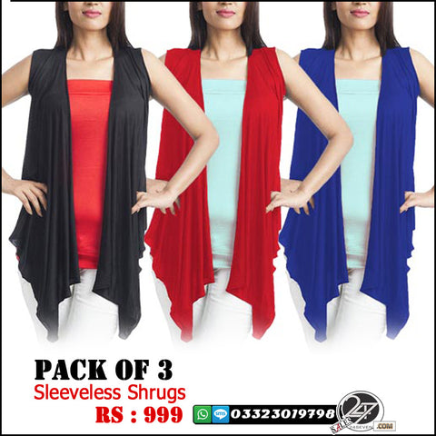 Pack of 3 Sleeveless Shrugs