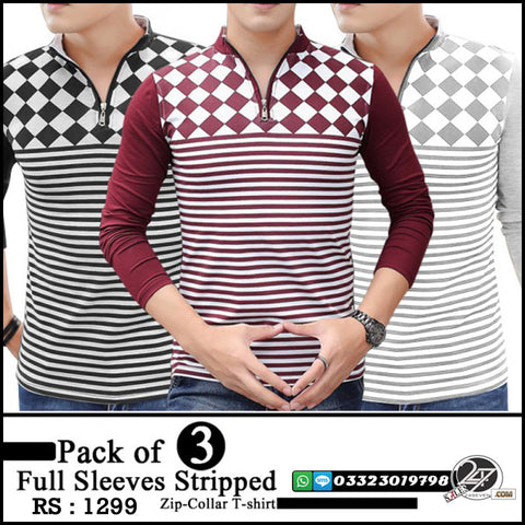 Pack of 3 Full Sleeves Stripped Zip-Collar T-shirt