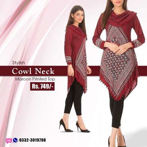 Stylish Cowl Neck Maroon Printed Top