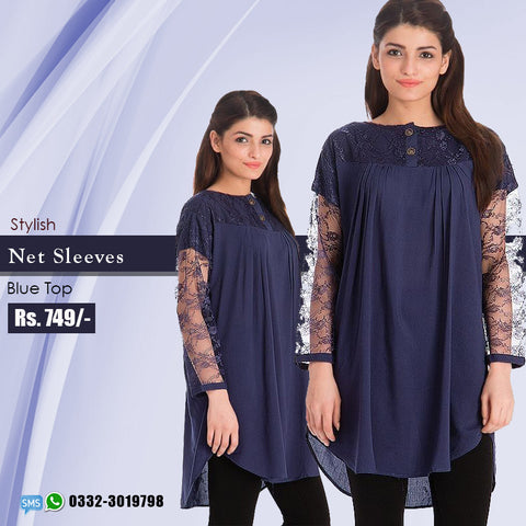 Stylish Net Sleeves Blue Top