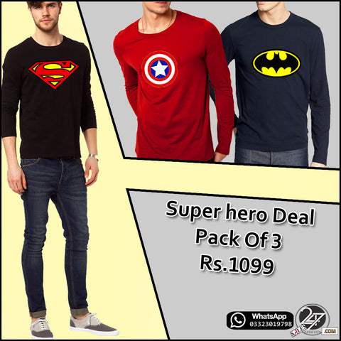 Pack of 3 Full Sleeves Super Hero T-Shirts