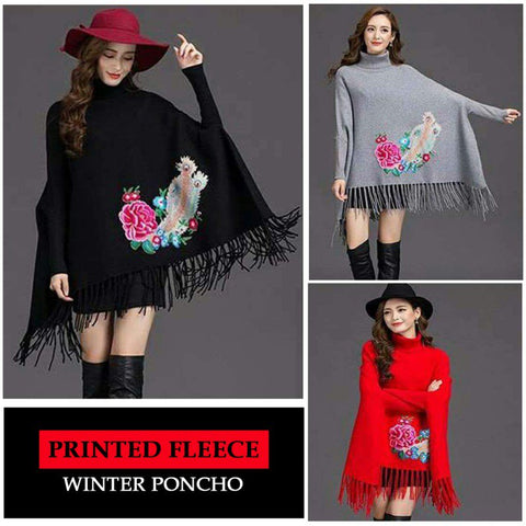 Printed Fleece Winter Poncho