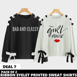 PACK OF 2 RIBBON EYELET PRINTED SWEAT SHIRT ( DEAL 7 )