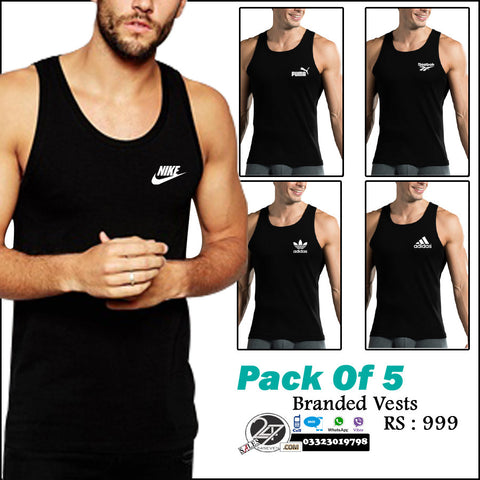 Pack of 5 Branded Vests ( Karachi Free Delivery )