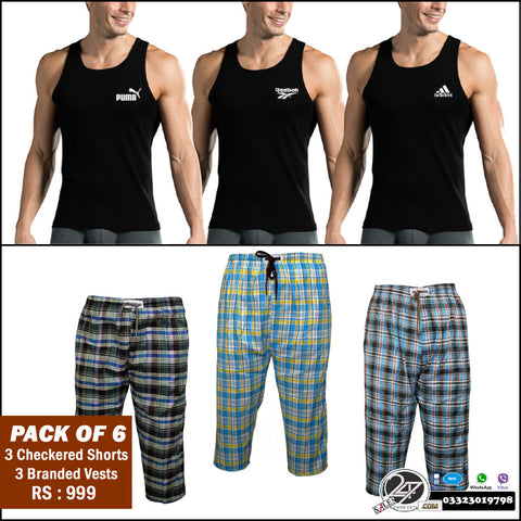 Pack of 6: 3 Branded vests + 3 checkered shorts
