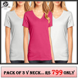 Pack of 3 V Neck Ladies T shirts