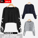 Pack of 3 Lace Eyelet Sleeves Sweatshirts