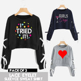 PACK OF 3 LACE EYELET PRINTED SLEEVES SWEAT SHIRTS