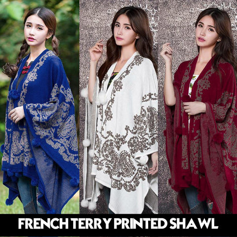 FRENCH TERRY PRINTED SHAWL