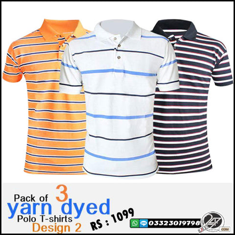 Pack of 3 Yarn Dyed (Design 2)  Polo T-Shirts