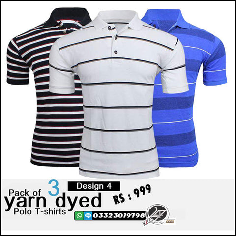 Pack of 3 Yarn Dyed (Design 4)  Polo T-Shirts