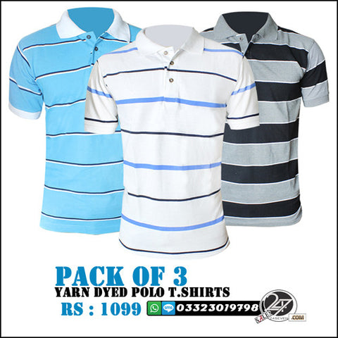 Pack of 3 Yarn Dyed Polo T-Shirts