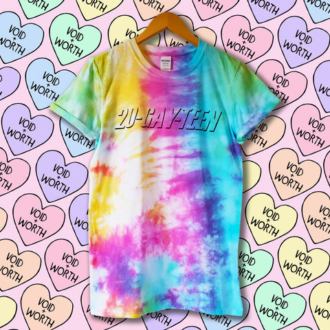 Gay Pride Tie-Dyed '20-Gay-Teen' Void and Worth T-shirt