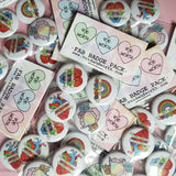 Gay Pride Fab Badge Pack of Four - 'I Can't Think Straight', 'Love Will Always Win', 'Puking Rainbows' and 'Get Bent'