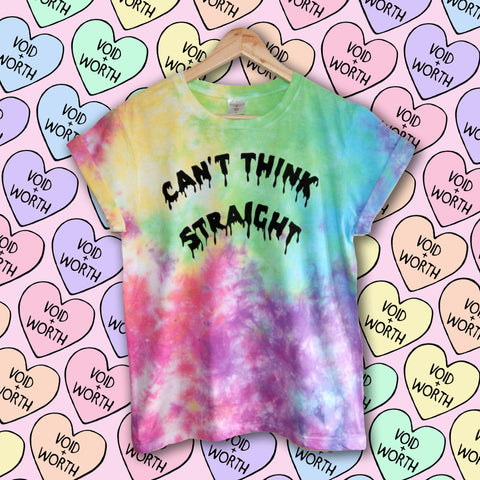Gay Pride Tie-Dyed 'Can't Think Straight' Void and Worth T-shirt