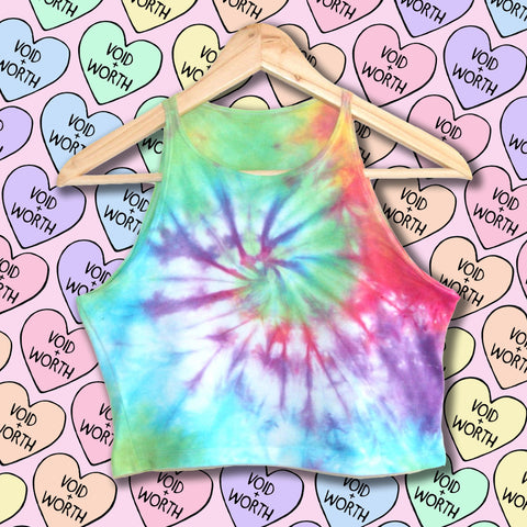 Rainbow Tie-Dyed Void and Worth Crop Top