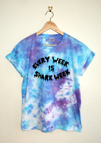Tie-Dyed 'Every Week is Shark Week' Void and Worth T-shirt