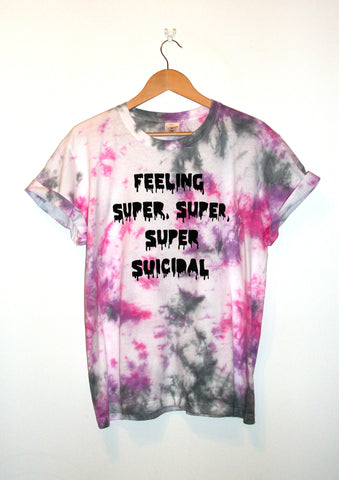 Tie-Dyed 'Feeling Super, Super, Super Suicidal' Void and Worth T-shirt
