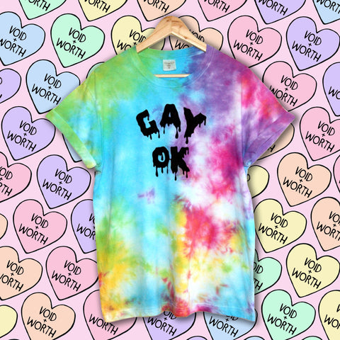 Gay Pride Tie-Dyed 'Gay OK' Void and Worth T-shirt