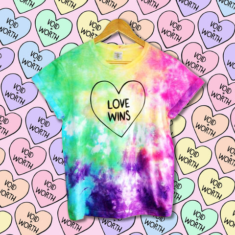 Gay Pride Tie-Dyed 'Love Wins' Void and Worth T-shirt