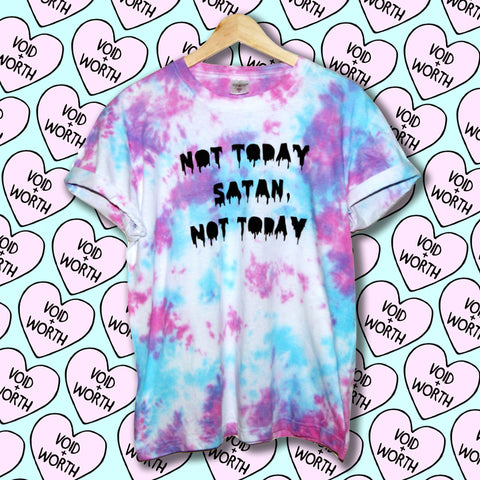 Tie-Dyed 'Not Today Satan, Not Today' Void and Worth Queens T-shirt
