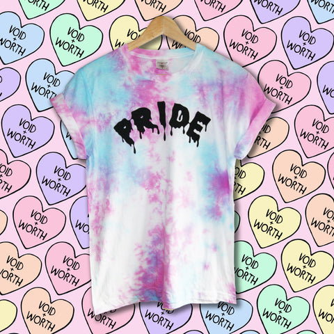 Gay Pride Tie-Dyed 'Pride' Trans Pride Flag Void and Worth T-shirt