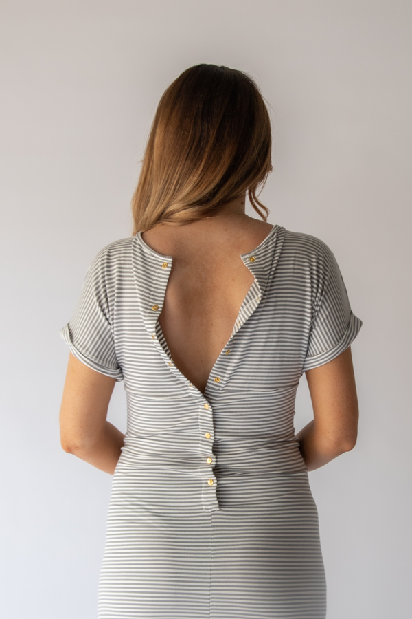 Grey Stripe Journey Dress