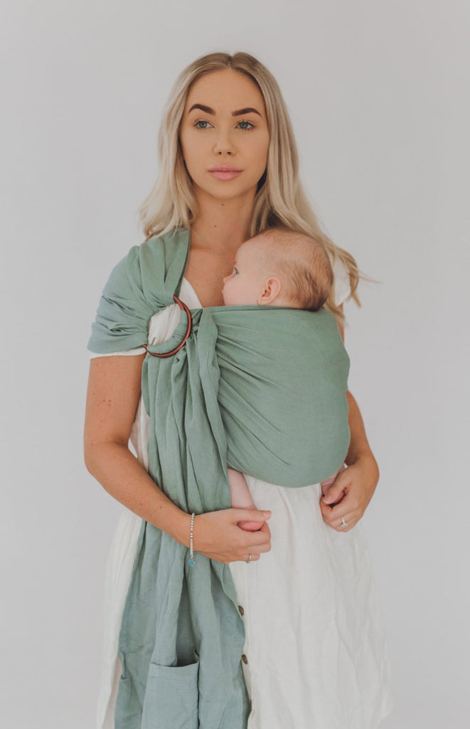 australia's best chekoh teal baby sling carrier for newborn infant and toddler