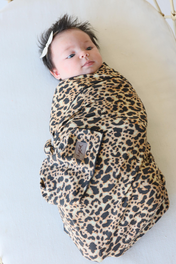 Leopard Baby Swaddle Bamboo by Chekoh perfect for newborn swaddling and wrapping just like a sleeping bag but a Wrap