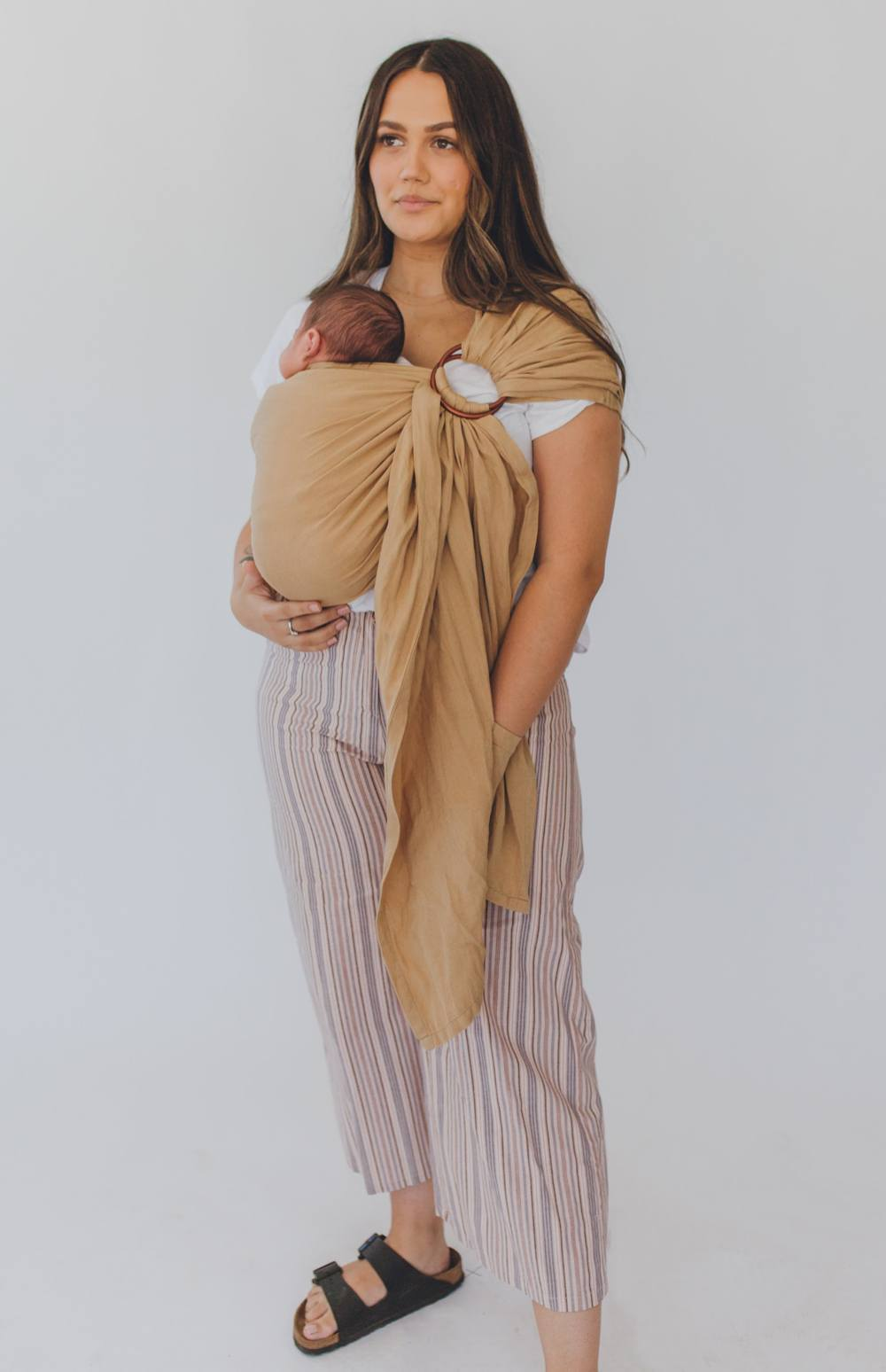 Camel chekoh sling baby carrier bamboo and linen blend for newborn, infants and toddlers