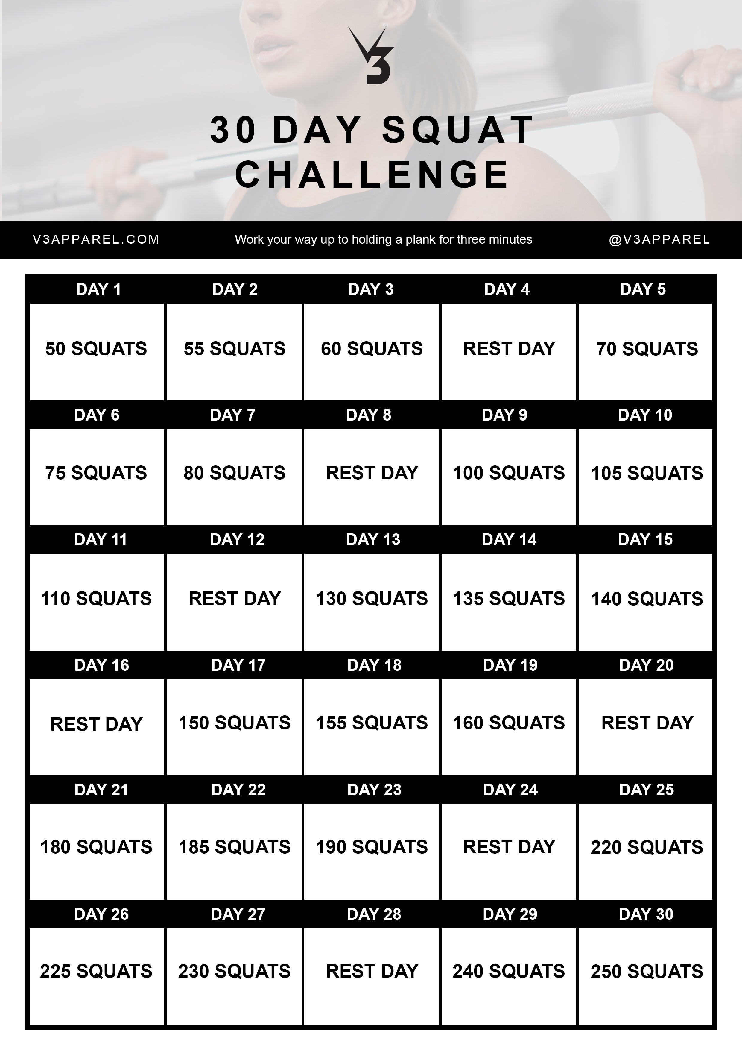 Free 30 day squat challenge workout programme for men and women, booty growth in just 30 days