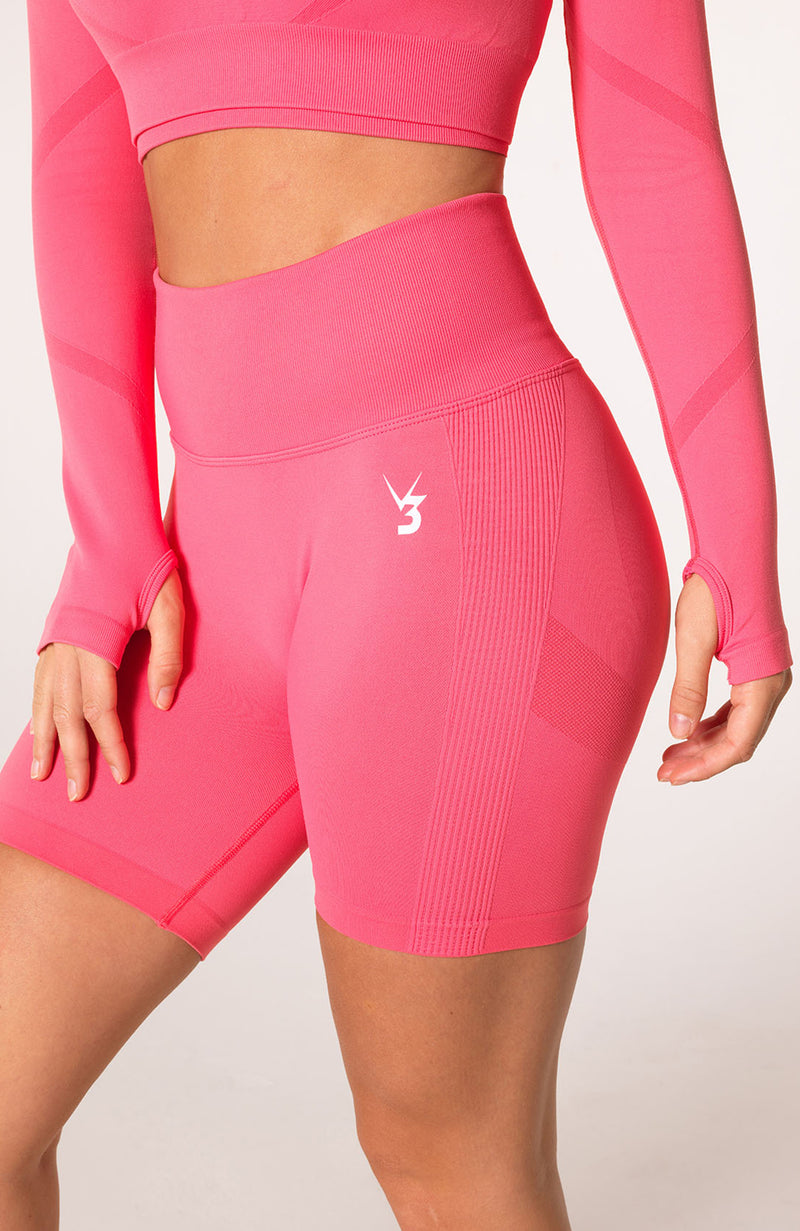 Define Seamless Scrunch Shorts + Crop Long Sleeve - Coral