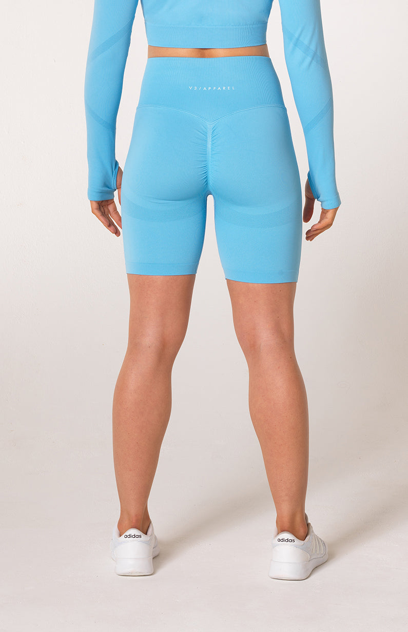 Define Seamless Scrunch Shorts - Sky Blue