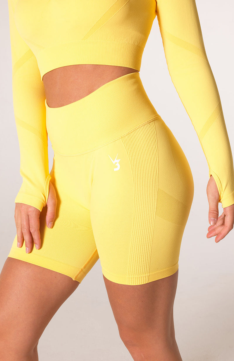 Define Seamless Scrunch Shorts - Lemon