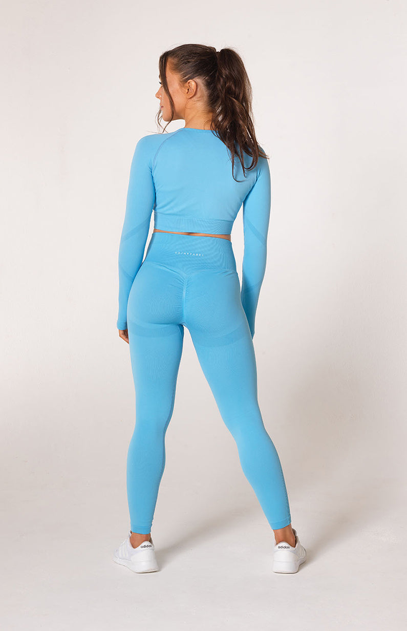 Define Seamless Scrunch Leggings + Crop Long Sleeve - Sky Blue