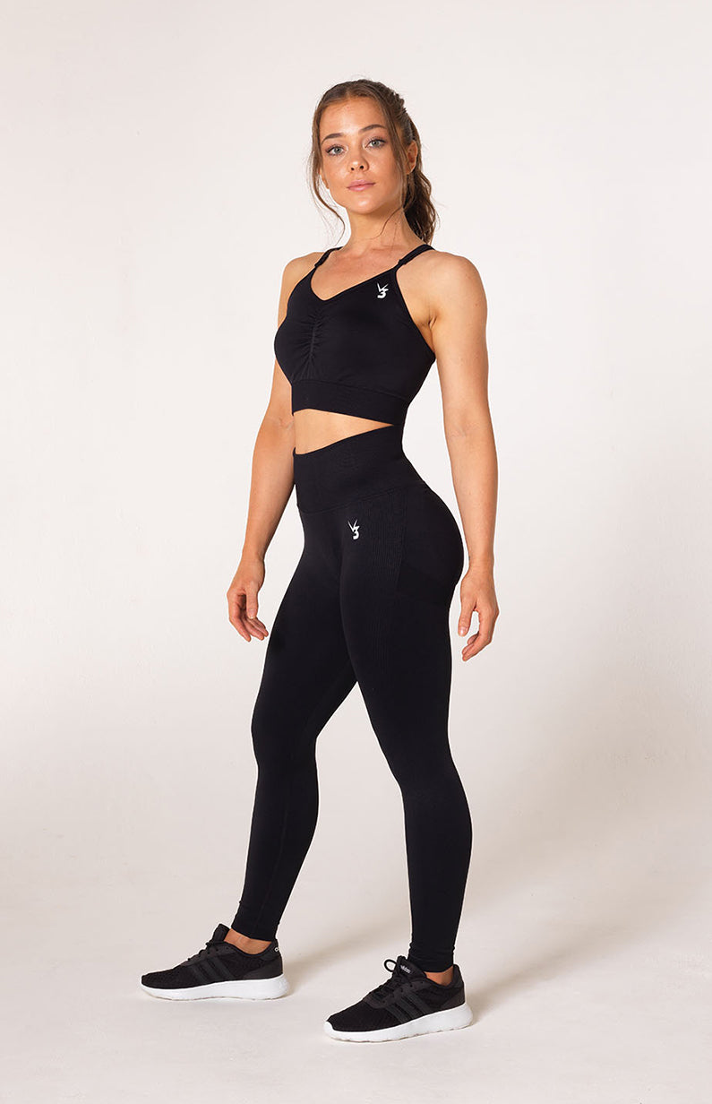 Define Seamless Scrunch Sports Bra - Black
