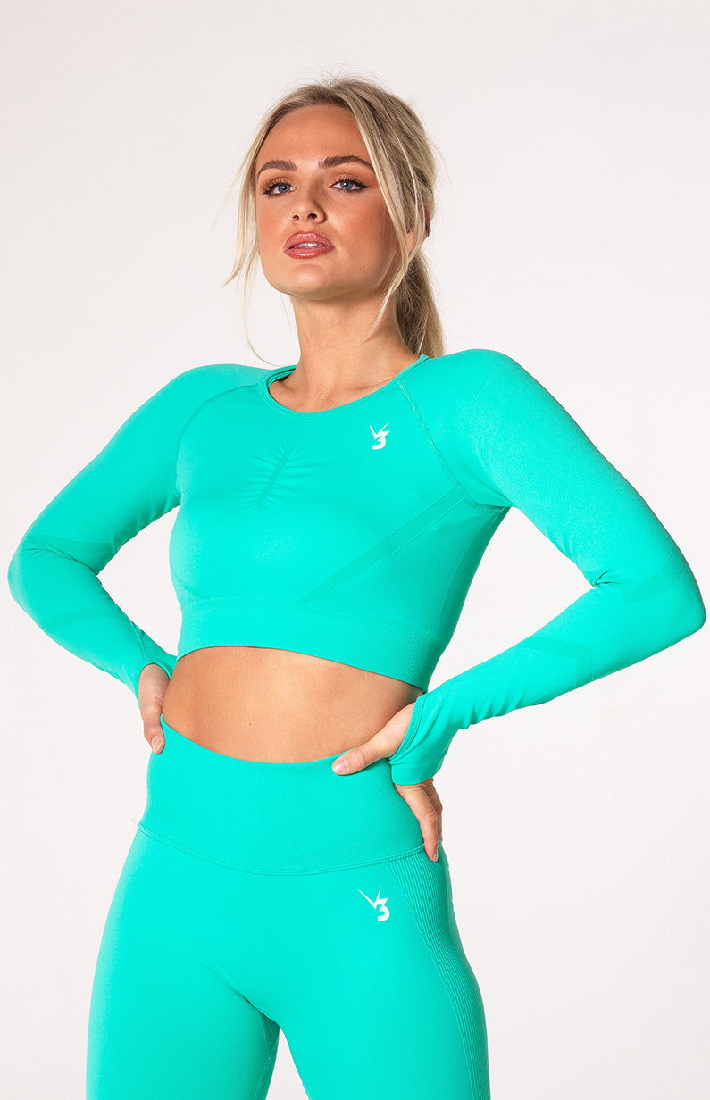 Define Seamless Scrunch Shorts + Crop Long Sleeve - Teal