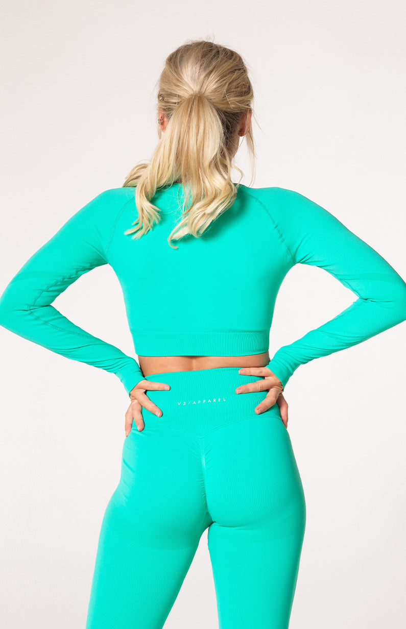 Define Seamless Scrunch Crop Long Sleeve - Teal