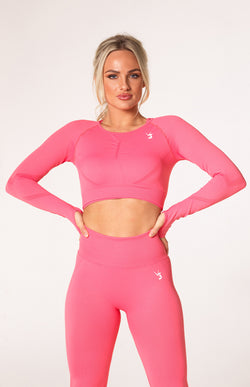 Define Seamless Scrunch Crop Long Sleeve - Coral