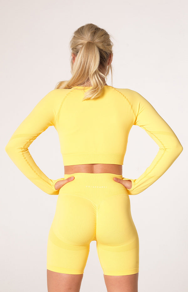 Define Seamless Scrunch Crop Long Sleeve - Lemon
