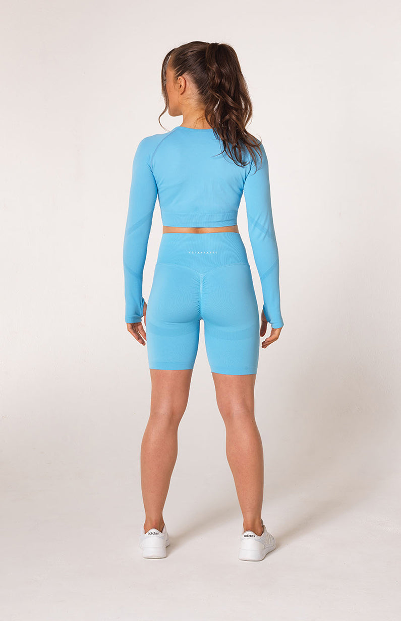 Define Seamless Scrunch Shorts + Crop Long Sleeve - Sky Blue