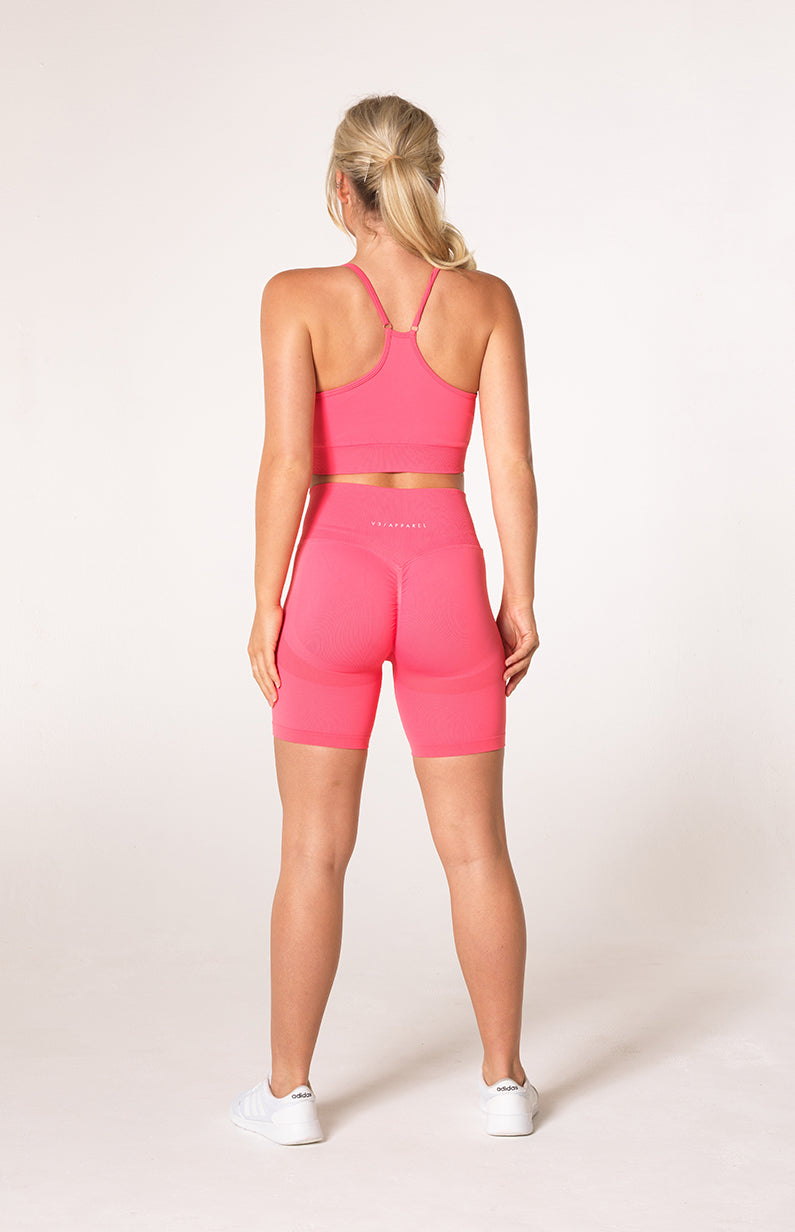 Define Seamless Scrunch Shorts + Sports Bra - Coral