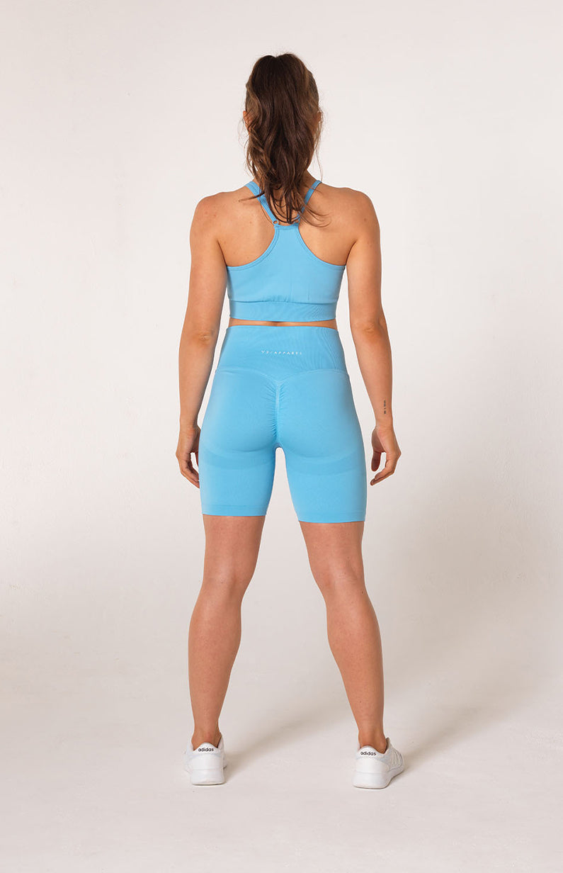 Define Seamless Scrunch Shorts + Sports Bra - Sky Blue