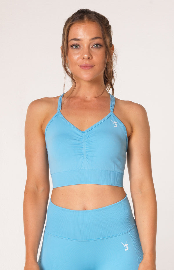 Define Seamless Scrunch Sports Bra - Sky Blue