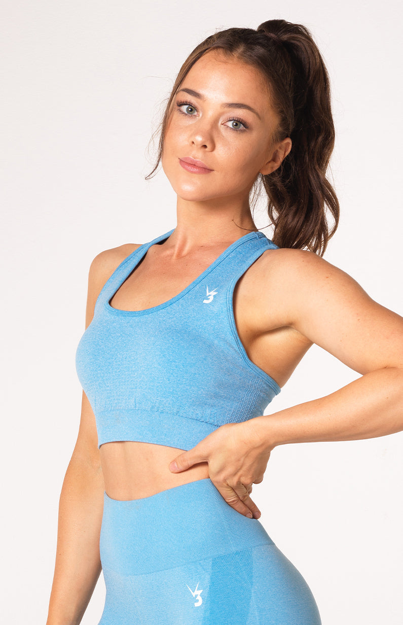 Uplift Seamless Sports Bra - Sky Blue Marl
