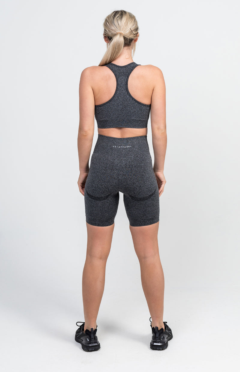 Uplift Seamless Shorts + Sports Bra - Charcoal Marl