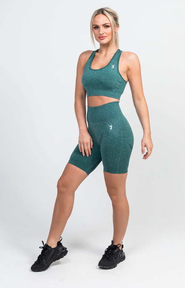 Uplift Seamless Shorts + Sports Bra - Emerald Marl